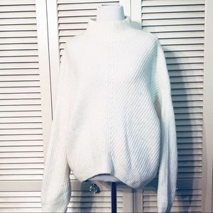 Express | Mock Neck White Cocoon Sweater